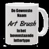 Mok bedrukt met lettertype ArtBrush