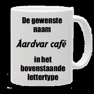 Mok bedrukt met lettertype Aardvar Café