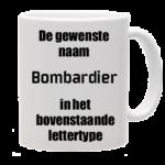 Mok bedrukt met lettertype Bombardier