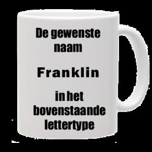 Mok bedrukt met lettertype Franklin