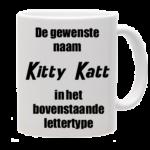 Mok bedrukt met lettertype Kitty Katt