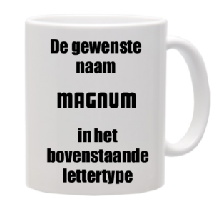 Mok bedrukt met lettertype Magnum